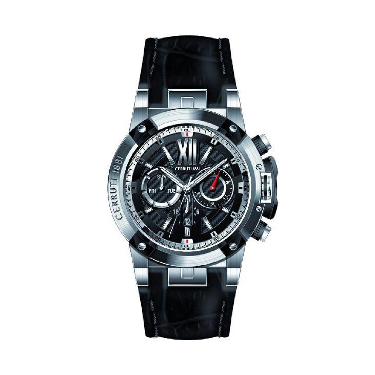 vendita scontata offerta speciale design unico Chronograph Watch man cerruti 1881 cra060a222h Black Leather Steel ...