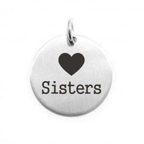 Pendente Moneta Personalizzata In Acciaio Love Sister
