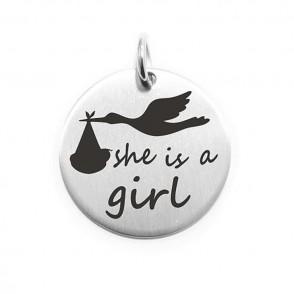 Pendente Moneta Personalizzata In Acciaio She Is Girl