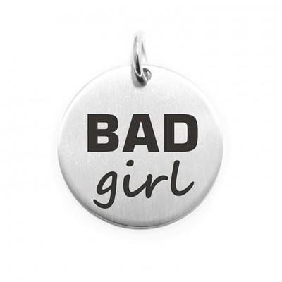 Pendente Moneta Personalizzata In Acciaio Bad Girl