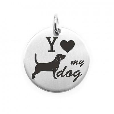 Pendente Moneta Personalizzata In Acciaio Love My Dog